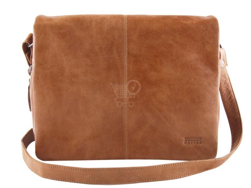 GREENLAND Kožená klopnová taška 1309-24 sv.hneda