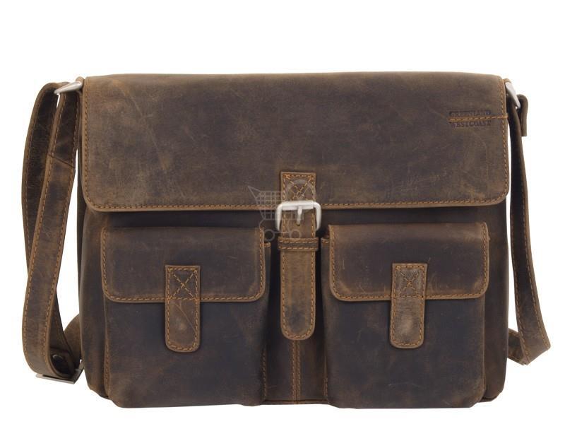 GREENLAND Kožená taška na rameno klopnová 802-25 tm.hnědá